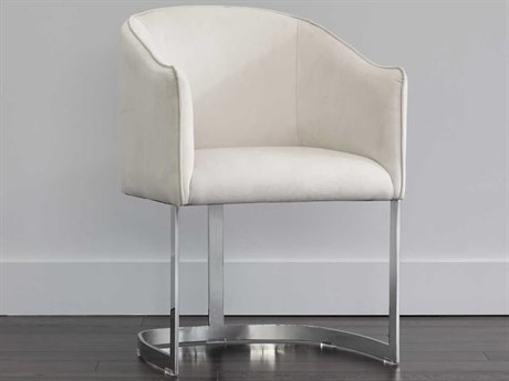 Sunpan Blossom Polished Stainless Steel Antonio Porcelain / Arm Dining Chair SPN103618