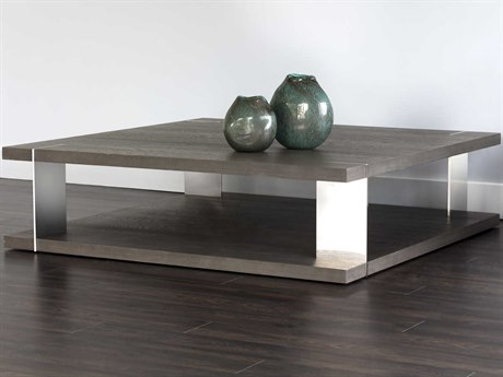 Sunpan Carmella Polished Smoked Oak / Stainless Steel 59'' Wide Square Coffee Table SPN103599