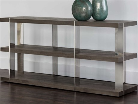 Sunpan Carmella Polished Smoked Oak / Stainless Steel 59'' Wide Rectangular Console Table SPN103602