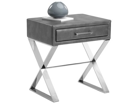 Sunpan Casa Polished Stainless Steel Nobility Grey / 22'' Wide Rectangular End Table