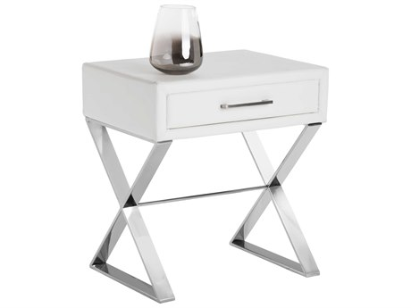 Sunpan Casa Polished Stainless Steel Nobility White / 22'' Wide Rectangular End Table SPN100428