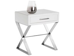 Sunpan Casa Polished Stainless Steel Nobility White / 22'' Wide Rectangular End Table
