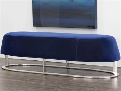 Sunpan Cavo Polished Stainless Steel Giotto Navy / Accent Bench
