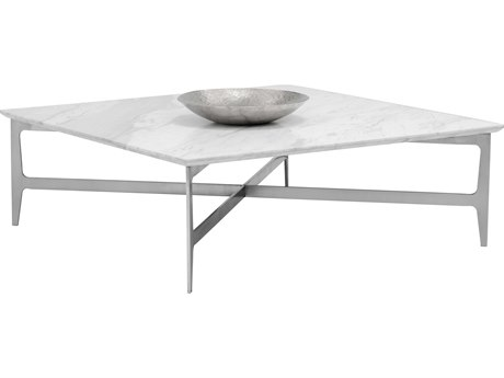 Sunpan Clearwater Brushed White Marble / Srushed Stainless Steel 47'' Wide Square Coffee Table SPN101503