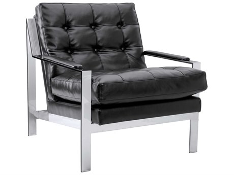 Sunpan Court Polished Stainless Steel Accent Chair