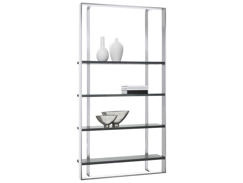 Sunpan Dalton Polished Dark Grey Distressed Stainless Steel Bookcase