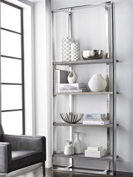 Sunpan Dalton Polished Dark Grey Distressed / Stainless Steel Bookcase
