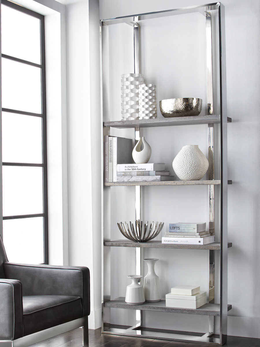 Sunpan Dalton Polished Dark Grey Distressed Stainless Steel Bookcase