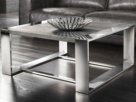 Sunpan Dalton Polished Dark Grey Distressed / Stainless Steel 47'' Wide Square Coffee Table