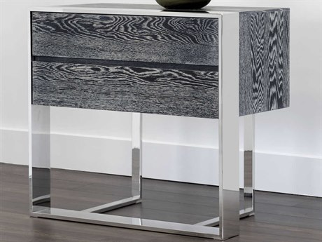 Sunpan Dalton Polished Dark Grey Distressed / Stainless Steel 33'' Wide Rectangular End Table