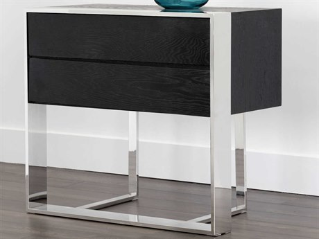 Sunpan Dalton Polished Black Distressed / Stainless Steel 33'' Wide Rectangular End Table