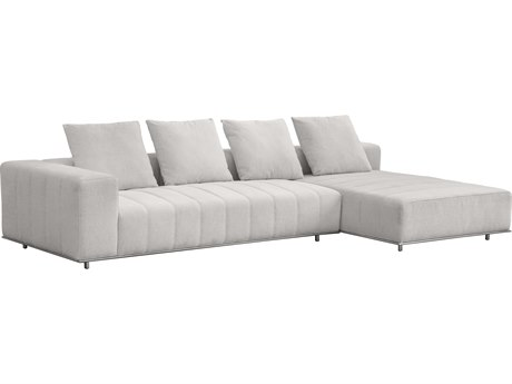Sunpan Flora Polished Stainless Steel Hemingway Marble / Sectional Sofa SPN103597