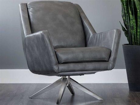 Sunpan Greta Polished Stainless Steel Swivel Club Chair SPN103172