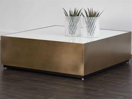 Sunpan Hudson Antique Brass White Glass / 47'' Wide Square Coffee Table