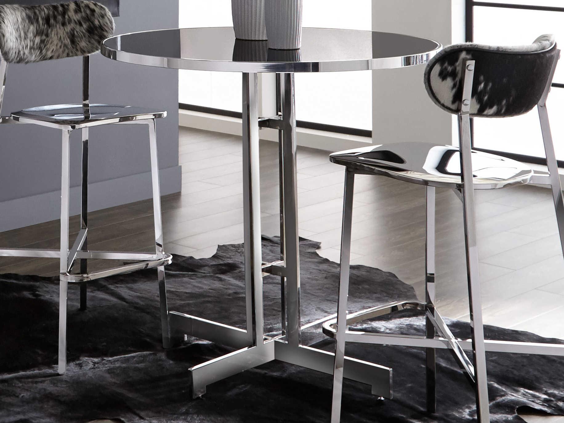 Sunpan Modern Home Ikon Black Silver 40 Wide Round Bar Height Dining Table Spn101056
