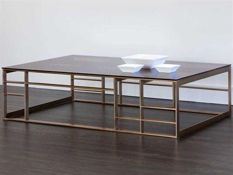 Sunpan Joanna Antique Brass Brown Glass / 59'' Wide Rectangular Coffee Table