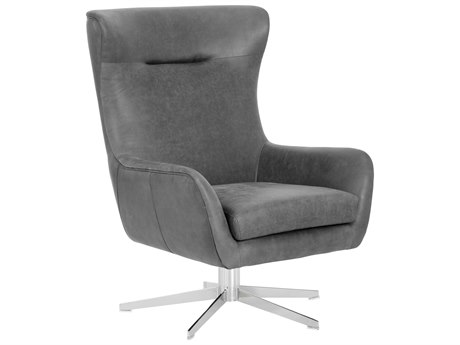 Sunpan Judy Polished Stainless Steel Swivel Accent Chair SPN101677