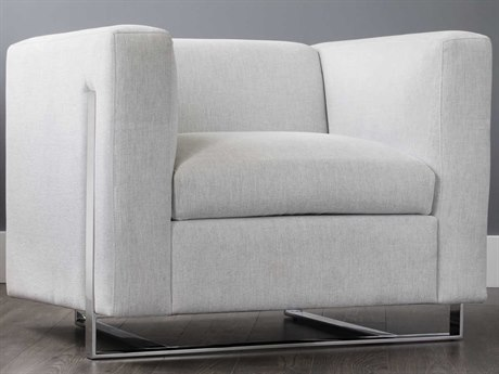 Sunpan Keaton Polished Stainless Steel Accent Chair