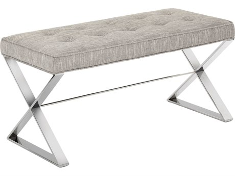 Sunpan Lennox Polished Stainless Steel Hannigan Fog / Accent Bench