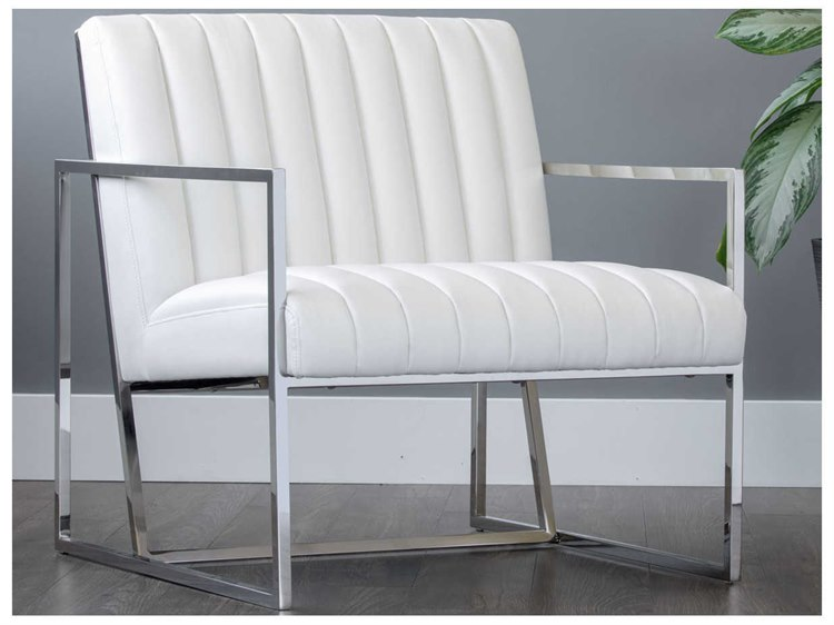 Terrific Sunpan Nina Polished Stainless Steel Accent Chair Andrewgaddart Wooden Chair Designs For Living Room Andrewgaddartcom