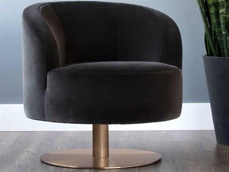Sunpan Peggy Antique Brass Swivel Club Chair SPN103121