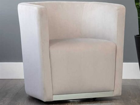 Sunpan Queenie Polished Stainless Steel Swivel Accent Chair SPN103607