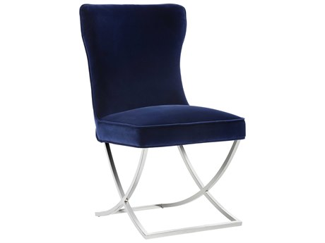 Sunpan Rivoli Polished Stainless Steel Giotto Navy / Side Dining Chair SPN101668