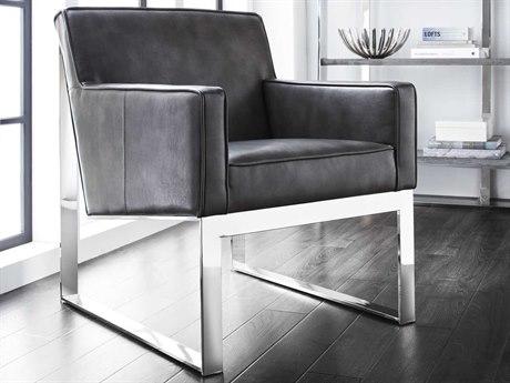 Sunpan Sheldon Polished Stainless Steel Club Chair SPN74308