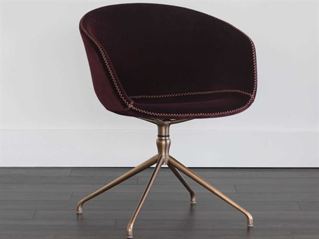 Sunpan Sunshine Antique Brass Giotto Cabernet / Computer Chair SPN103117