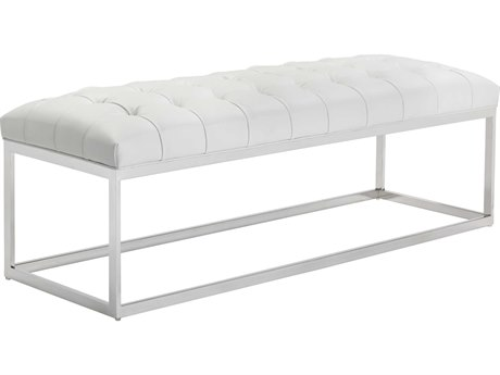 Sunpan Sutton Polished Stainless Steel Nobility White / Accent Bench
