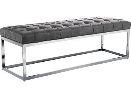 Sunpan Sutton Polished Stainless Steel Nobility Grey / Accent Bench