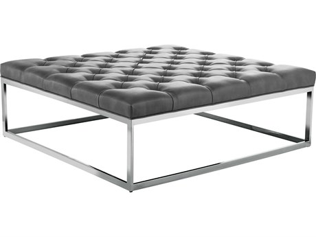 Sunpan Sutton Polished Stainless Steel Nobility Grey / Ottoman