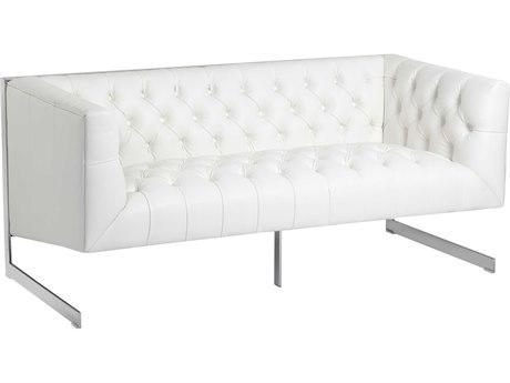Sunpan Viper Polished Stainless Steel Nobility White / Loveseat Sofa