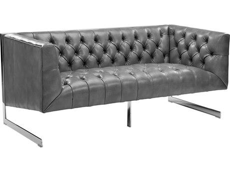 Sunpan Viper Polished Stainless Steel Nobility Grey / Loveseat Sofa