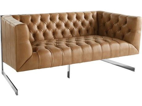 Sunpan Viper Polished Stainless Steel Nobility Peanut / Loveseat Sofa
