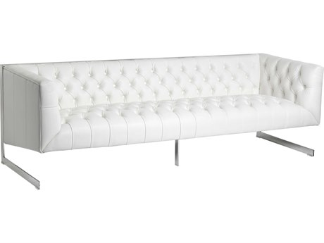 Sunpan Viper Polished Stainless Steel Nobility White / Sofa Couch