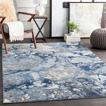 Surya Aberdine Bright Blue / Navy Medium Gray Pale Cream Black Rectangular Area Rug