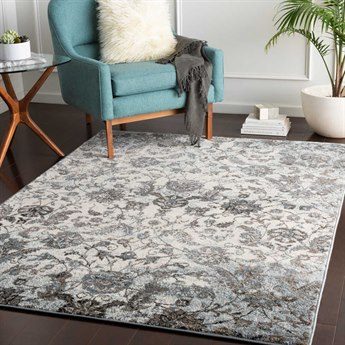 Surya Agra Denim / Camel Taupe Medium Gray Charcoal White Black Rectangular Area Rug