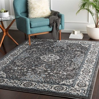 Surya Agra Denim / Charcoal Black Camel Taupe White Rectangular Area Rug