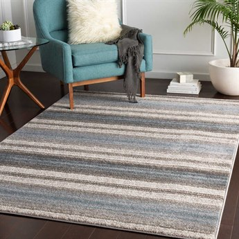 Surya Agra Denim / Camel Taupe Medium Gray Charcoal White Rectangular Area Rug