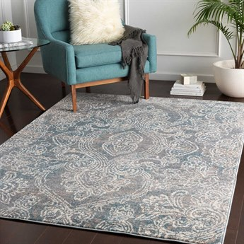 Surya Agra Denim / Camel Medium Gray Taupe White Rectangular Area Rug
