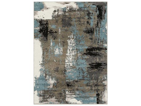 Surya Agra Camel / Charcoal Taupe Black Denim Medium Gray White Rectangular Area Rug