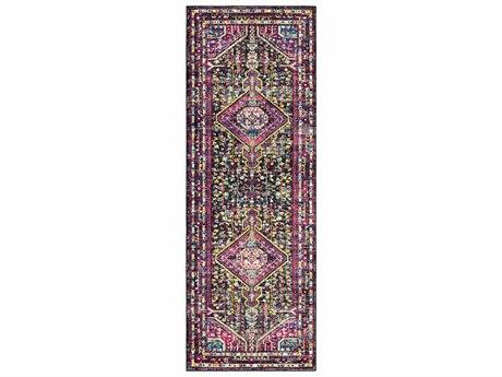Surya Alchemy Bright Pink / Violet Black Medium Gray White Sky Blue Red Yellow Camel Runner Area Rug