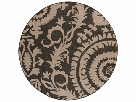 Surya Alfresco Round Black & Camel Area Rug SYALF9615ROU