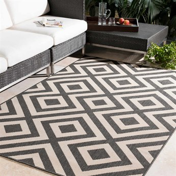 Surya Alfresco Rectangular Black & Cream Area Rug