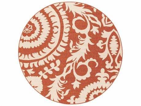 Surya Alfresco Round Rust & Cream Area Rug