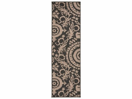 Surya Alfresco Rectangular Black & Camel Runner Rug
