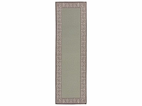Surya Alfresco Rectangular Sage, Black & Cream Runner Rug
