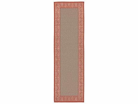 Surya Alfresco Rectangular Rust, Camel & Cream Runner Rug