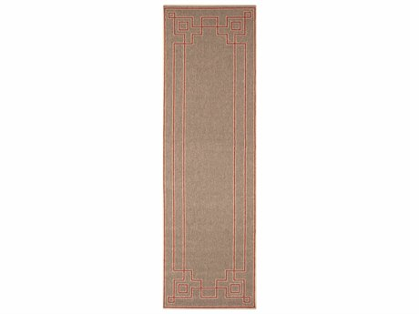 Surya Alfresco Rectangular Rust, Camel & Cream Runner Rug